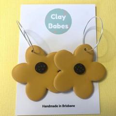 Oopsie Daisy dangles / Large mustard hoops / Polymer clay earrings