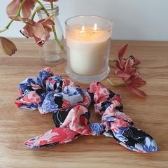 Handmade Scrunchies - Blue/Pink Flowers