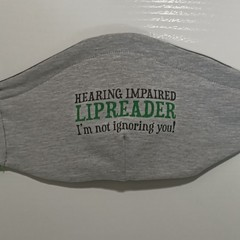 Reusable Cloth face covering for Hearing impaired Lipreader - made to order