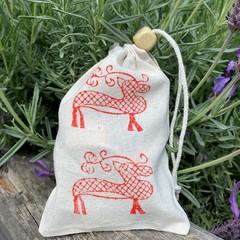 Block stamped pouch | Reindeer