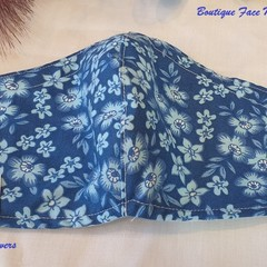 FACE MASK, 3PLY COTTON DARK BLUE FLOWER