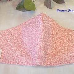 FACE MASK, 3 PLY COTTON PINK FLOWER