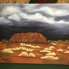 "Acrylic hand painted illustration of ""Uluru in Storm"""