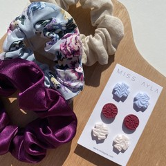 Blue Spring Floral scrunchie and earring set