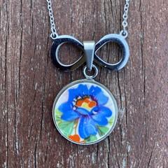 Blue Flower Infinity Pendant