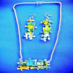 First Wedding Anniversary Gift.  Jigsaw Puzzle Necklace And Earrings