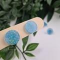 Baby Blue Glittering Cirlce Stud earrings - Handcrafted earrings