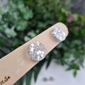 Silver Glittering Cirlce Stud earrings - Handcrafted earrings