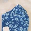 FACE MASK, 3PLY COTTON DARK BLUE FLOWER