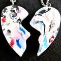 Two Handmade Friendship Heart Pendants.