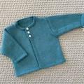 Aqua  Cardigan  - Newborn - pure wool - Hand knitted