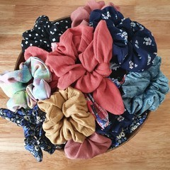 Handmade Scrunchies, Recycled materials, Various Colours and Options.