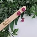 Pink  Fuschia Glittering Cirlce Stud earrings - Handcrafted earrings