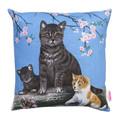 Vintage Retro  - Tabby Cat, Kittens & Blossoms  - Linen Cushion