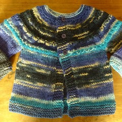Multi-coloured blue wool blend cardigan to fit a child 2-3 years