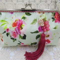 Ladies Clutch - Evening, Day, Wedding, Race Day, Garden Party - Soft Green Flora