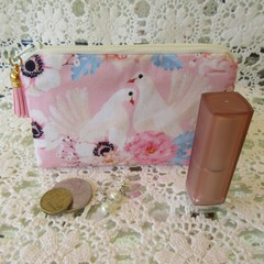 Coin Purse - Women's/Girls for Coins, Cards,Jewellery, Airpods - Doves Print