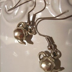 TEAPOT EARRINGS silver  bead