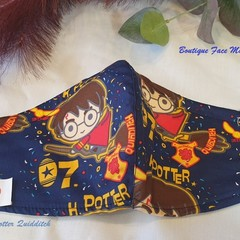 FACEMASK, 3 PLY COTTON HARRY POTTER QUIDDITCH