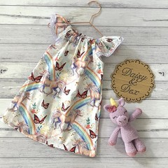 Seaside Ruffle Dress, Size 2, Lace Sleeve Dress, unicorns and rainbows