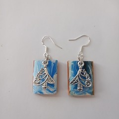 Essential oil resin on wood Christmas earrings