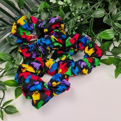 Puzzle Piece Scrunchie - Green Red Yellow Blue Purple