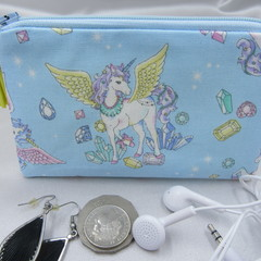 Coin Purse - Women's/Girls for Coins, Cards,Jewellery, Airpods - Blue Fantasy