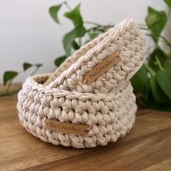 Natural Crochet Baskets-set of 2-Mid/Medium size-home decor-recycled tshirt yarn