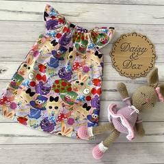 Seaside Ruffle Dress, Size 1 2 3 4, Lace Sleeve Dress, Alice in Wonderland
