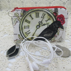 Coin Purse - Women's/Girls for Coins, Cards,Jewellery, Airpods - Black Crow