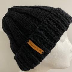 Mens or ladies black alpaca  knitted beanie
