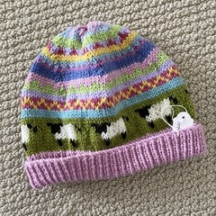 Pink Sheep  Beanie - to fit approx size 1-3 years -hand knitted