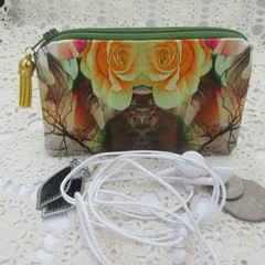 Coin Purse - Women's/Girls for Coins, Cards,Jewellery, Airpods - Orange Lily