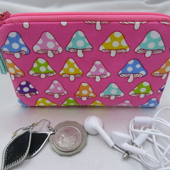 Coin Purse - Women's/Girls for Coins, Cards,Jewellery, Airpods - Hotpink Mushroo