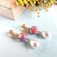 Gold Leaf Stud with Purple Sakura Bouquet Floral Bead and Faux Pearl Teardrop