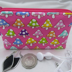 Coin Purse - Women's/Girls for Coins, Cards,Jewellery, Airpods - Mushroom