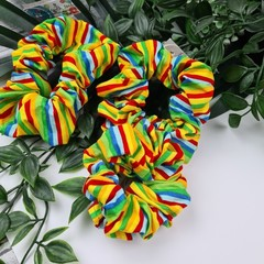 Rainbow Stripes Scrunchie - Green Red Yellow Blue Orange