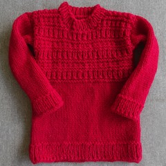 Red guernsey-style pure wool sweater to fit 2-4 years