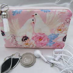 Coin Purse - Women's/Girls for Coins, Cards,Jewellery, Airpods - Doves White