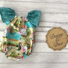 Elephant Seaside Romper, Size 00, Baby Girl Romper, Baby Girls Playsuit