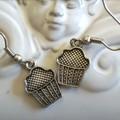 muffin or cupcake earring design earrings  silver tone