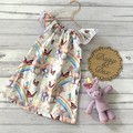 Seaside Ruffle Dress, Size 2, Lace Sleeve Dress, unicorns and rainbows