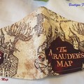 HP MARAUDERS MAP COTTON FACE MASK w/ FILTER POCKET /w NOSE WIRE