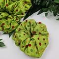 Christmas Spot Scrunchie - Green Red Gold