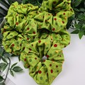 Christmas Spot Scrunchie - Green Red Gold
