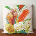 Vintage Retro Banksia Wildflowers Cushion