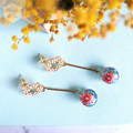 Pink Cubic Zirconia Stud with Blue Frosted Floral Bead Dangle Earrings.