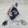 Earbud Airpod Coin Jewelry Pyramid Purse with bag clip - Navy Floral