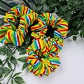 Rainbow Stripes Scrunchie - Green Red Yellow Blue Orange