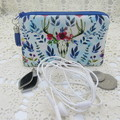 Coin Purse - Women's/Girls for Coins, Cards,Jewellery, Airpods - Boho Blue Deer